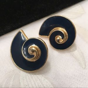 Vintage Gold And Blue Swirl Earrings